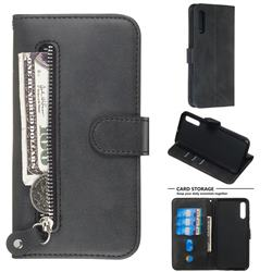 Retro Luxury Zipper Leather Phone Wallet Case for Samsung Galaxy A50 - Black