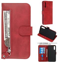 Retro Luxury Zipper Leather Phone Wallet Case for Samsung Galaxy A50 - Red