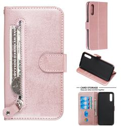 Retro Luxury Zipper Leather Phone Wallet Case for Samsung Galaxy A50 - Pink