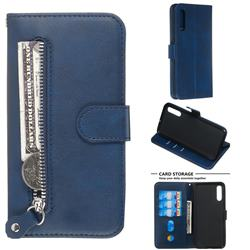 Retro Luxury Zipper Leather Phone Wallet Case for Samsung Galaxy A50 - Blue