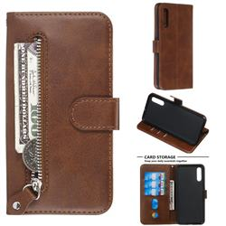 Retro Luxury Zipper Leather Phone Wallet Case for Samsung Galaxy A50 - Brown