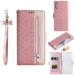 Luxury Lace Zipper Stitching Leather Phone Wallet Case for Samsung Galaxy A50 - Pink