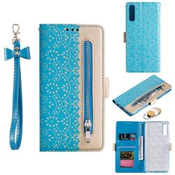 Luxury Lace Zipper Stitching Leather Phone Wallet Case for Samsung Galaxy A50 - Blue