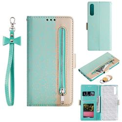 Luxury Lace Zipper Stitching Leather Phone Wallet Case for Samsung Galaxy A50 - Green