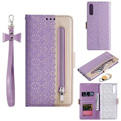 Luxury Lace Zipper Stitching Leather Phone Wallet Case for Samsung Galaxy A50 - Purple