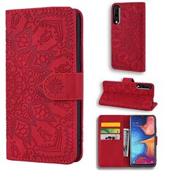 Retro Embossing Mandala Flower Leather Wallet Case for Samsung Galaxy A50 - Red