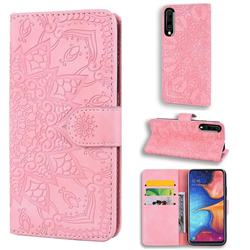 Retro Embossing Mandala Flower Leather Wallet Case for Samsung Galaxy A50 - Pink