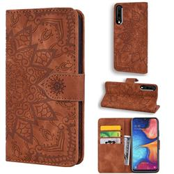 Retro Embossing Mandala Flower Leather Wallet Case for Samsung Galaxy A50 - Brown