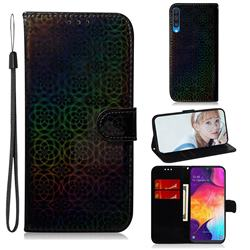 Laser Circle Shining Leather Wallet Phone Case for Samsung Galaxy A50 - Black