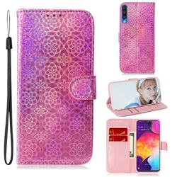 Laser Circle Shining Leather Wallet Phone Case for Samsung Galaxy A50 - Pink