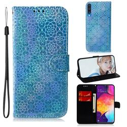 Laser Circle Shining Leather Wallet Phone Case for Samsung Galaxy A50 - Blue