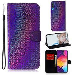 Laser Circle Shining Leather Wallet Phone Case for Samsung Galaxy A50 - Purple