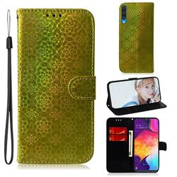 Laser Circle Shining Leather Wallet Phone Case for Samsung Galaxy A50 - Golden