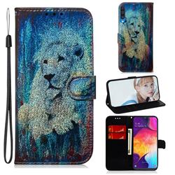 White Lion Laser Shining Leather Wallet Phone Case for Samsung Galaxy A50
