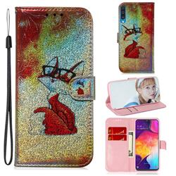 Glasses Fox Laser Shining Leather Wallet Phone Case for Samsung Galaxy A50