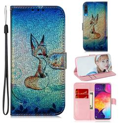 Cute Fox Laser Shining Leather Wallet Phone Case for Samsung Galaxy A50