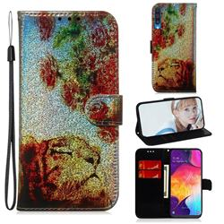 Tiger Rose Laser Shining Leather Wallet Phone Case for Samsung Galaxy A50