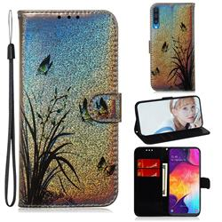 Butterfly Orchid Laser Shining Leather Wallet Phone Case for Samsung Galaxy A50