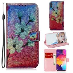 Magnolia Laser Shining Leather Wallet Phone Case for Samsung Galaxy A50