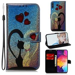 Love Cat Laser Shining Leather Wallet Phone Case for Samsung Galaxy A50