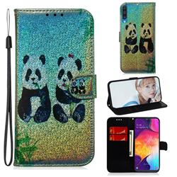 Two Pandas Laser Shining Leather Wallet Phone Case for Samsung Galaxy A50