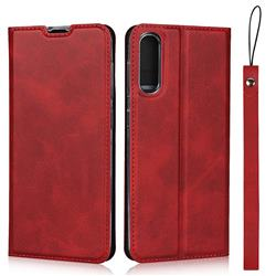 Calf Pattern Magnetic Automatic Suction Leather Wallet Case for Samsung Galaxy A50 - Red