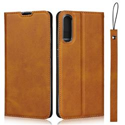 Calf Pattern Magnetic Automatic Suction Leather Wallet Case for Samsung Galaxy A50 - Brown