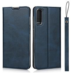 Calf Pattern Magnetic Automatic Suction Leather Wallet Case for Samsung Galaxy A50 - Blue