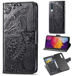 Embossing Mandala Flower Butterfly Leather Wallet Case for Samsung Galaxy A50 - Black