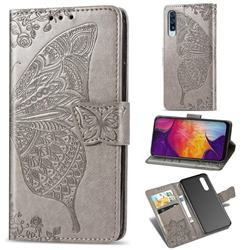 Embossing Mandala Flower Butterfly Leather Wallet Case for Samsung Galaxy A50 - Gray
