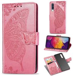 Embossing Mandala Flower Butterfly Leather Wallet Case for Samsung Galaxy A50 - Pink