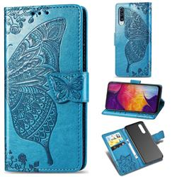 Embossing Mandala Flower Butterfly Leather Wallet Case for Samsung Galaxy A50 - Blue