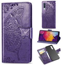 Embossing Mandala Flower Butterfly Leather Wallet Case for Samsung Galaxy A50 - Dark Purple