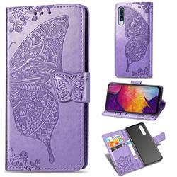 Embossing Mandala Flower Butterfly Leather Wallet Case for Samsung Galaxy A50 - Light Purple