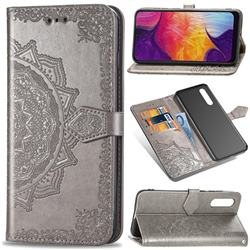 Embossing Imprint Mandala Flower Leather Wallet Case for Samsung Galaxy A50 - Gray