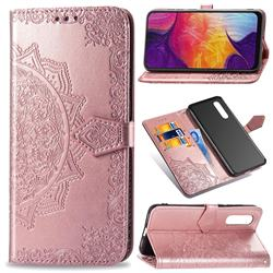 Embossing Imprint Mandala Flower Leather Wallet Case for Samsung Galaxy A50 - Rose Gold
