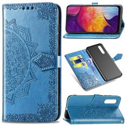 Embossing Imprint Mandala Flower Leather Wallet Case for Samsung Galaxy A50 - Blue