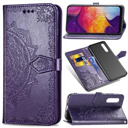 Embossing Imprint Mandala Flower Leather Wallet Case for Samsung Galaxy A50 - Purple