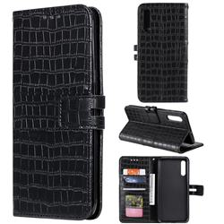 Luxury Crocodile Magnetic Leather Wallet Phone Case for Samsung Galaxy A50 - Black