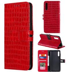 Luxury Crocodile Magnetic Leather Wallet Phone Case for Samsung Galaxy A50 - Red
