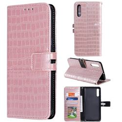 Luxury Crocodile Magnetic Leather Wallet Phone Case for Samsung Galaxy A50 - Rose Gold