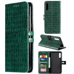 Luxury Crocodile Magnetic Leather Wallet Phone Case for Samsung Galaxy A50 - Green
