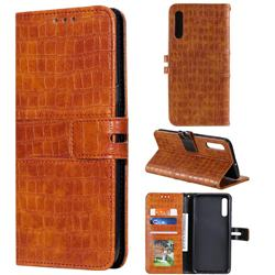 Luxury Crocodile Magnetic Leather Wallet Phone Case for Samsung Galaxy A50 - Brown