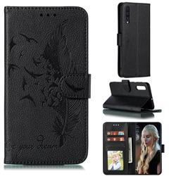 Intricate Embossing Lychee Feather Bird Leather Wallet Case for Samsung Galaxy A50 - Black