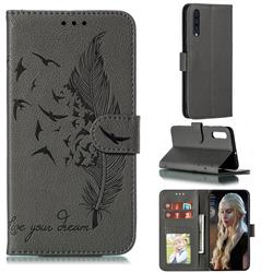 Intricate Embossing Lychee Feather Bird Leather Wallet Case for Samsung Galaxy A50 - Gray