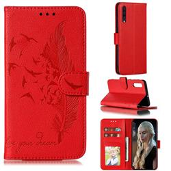 Intricate Embossing Lychee Feather Bird Leather Wallet Case for Samsung Galaxy A50 - Red
