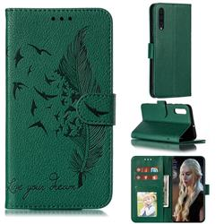 Intricate Embossing Lychee Feather Bird Leather Wallet Case for Samsung Galaxy A50 - Green