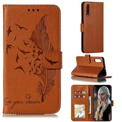 Intricate Embossing Lychee Feather Bird Leather Wallet Case for Samsung Galaxy A50 - Brown