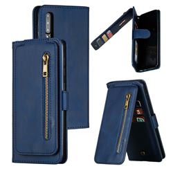 Multifunction 9 Cards Leather Zipper Wallet Phone Case for Samsung Galaxy A50 - Blue