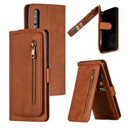 Multifunction 9 Cards Leather Zipper Wallet Phone Case for Samsung Galaxy A50 - Brown
